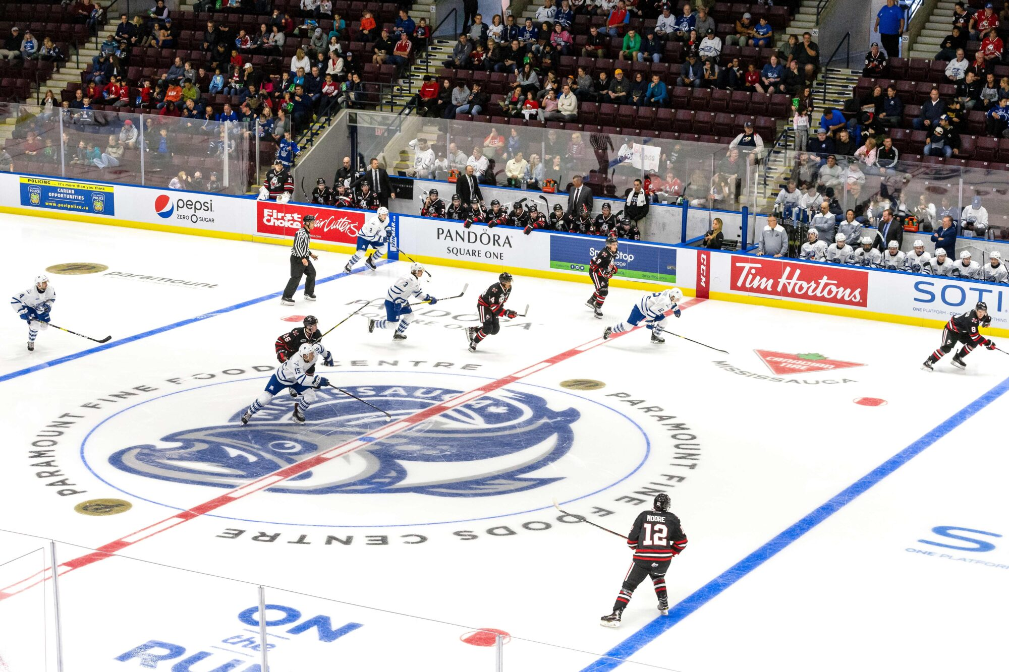 MISSISSAUGA, ON - SEPTEMBER 30: Niagara IceDogs versus the Mississauga Steelheads at their OHL home opener on September 30, 2018 at the Paramount Fine Foods Centre, in Mississauga, Canada. (Photo by Adam Pulicicchio)